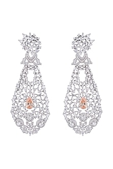 White Finish Faux Diamond & Citrine Colored Stone Long Earrings by Aster