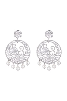 White Finish Faux Diamond & Pearl Earrings by Aster