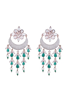 Rose Gold Finish Faux Diamonds & Green Stones Earrings by Aster