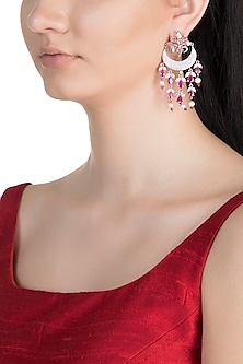 Rose Gold Finish Faux Diamond & Red Stone Earrings by Aster