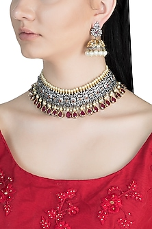Black Rhodium Finish Faux Diamonds, Pearls & Red Stones Choker Necklace Set by Aster