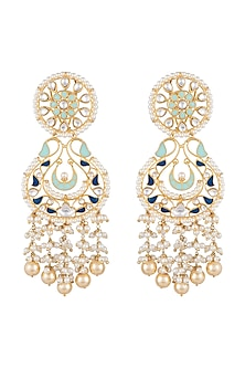 Gold Finish Kundan & Pearl Enameled Earrings by Aster