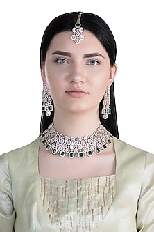 Rose Gold Finish Faux Diamond & Green Stone Necklace Set With Maang tikka by Aster