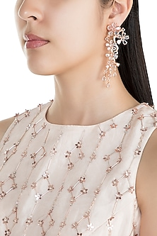 Rose Gold Finish Faux Rose Cut Diamond Long Earrings by Aster
