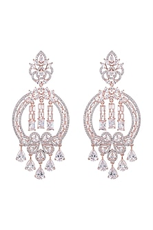 Rose Gold Finish Faux Diamonds Earrings by Aster
