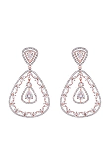 Rose Gold Finish Faux Diamonds Dangler Earrings by Aster