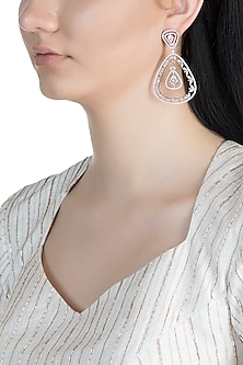 Rose Gold Finish Faux Diamonds Dangler Earrings by Aster