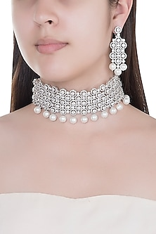 White Finish Faux Diamonds & Pearls Choker Necklace Set by Aster