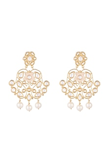 Gold Finish Faux Pearls & Kundan Enameled Earrings by Aster