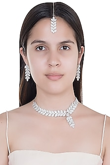 White Finish Faux Diamonds Necklace Set With Maang Tikka by Aster