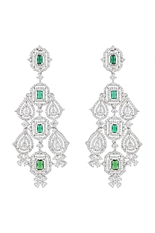 White Finish Faux Diamonds & Green Stones Dangler Earrings by Aster