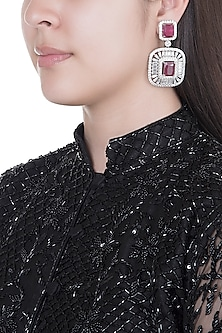 White Finish Faux Diamonds & Red Stones Earrings by Aster