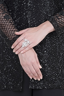 White Finish Faux Diamonds Two Finger Ring by Aster