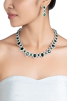 Silver plated faux emerald and diamond necklace set