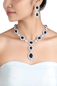 Silver plated faux sapphire and diamond necklace set