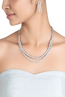 Silver plated double layered faux necklace set