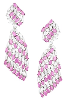 Silver plated faux ruby and diamond earrings by ASTER