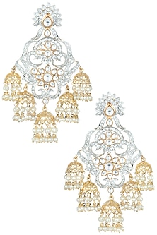 Gold plated faux diamond jhumki earrings by Aster