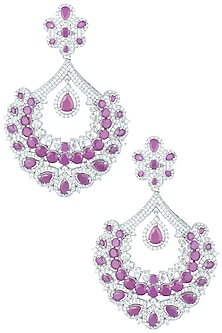 Silver plated faux ruby and diamond chandbali earrings by Aster