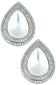 Silver plated kundan drop earrings by Aster