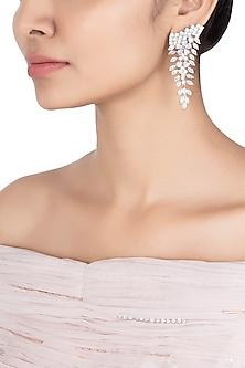 Silver plated faux diamond dangler earrings