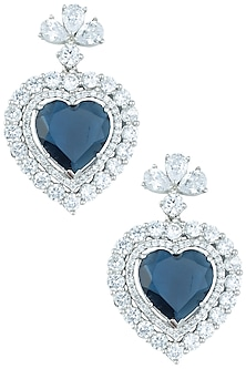 Silver plated faux diamond heart shaped earrings by Aster