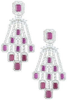 Silver plated faux ruby earrings by Aster