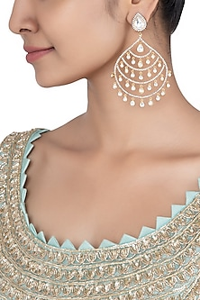 Gold plated kundan long earrings by Aster
