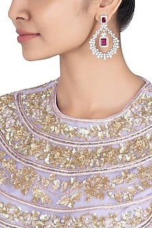 Silver plated faux diamonds and ruby earrings by Aster
