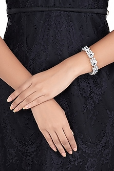 Silver plated faux diamond bracelet