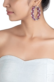 Silver plated ruby and diamond faux hoop earrings by ASTER