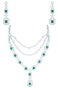 Silver plated triple line diamond and emerald necklace set by ASTER