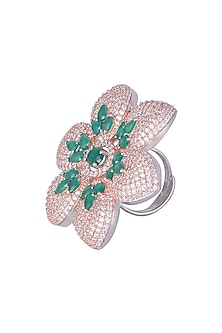 Silver plated kundan and emerald ring by ASTER