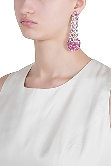 Silver plated faux diamond and ruby long earrings