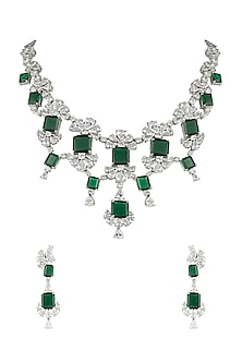 Silver plated faux diamond and emerald necklace set by Aster