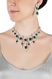 Silver plated faux diamond and emerald necklace set