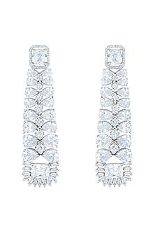 Silver plated faux diamond dangler earrings by Aster
