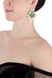 Silver plated faux emerald and diamond earrings