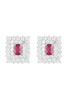 Silver plated faux ruby and diamond stud earrings by Aster