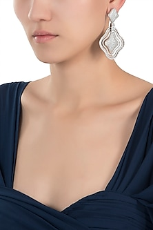 Silver plated white rhodium full pave diamond earrings by Aster