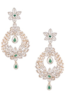 Gold plated diamond and emerald chandelier earrings by Aster