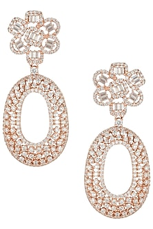 Rose gold faux diamond earrings by Aster