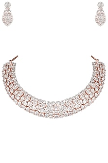 Rose gold plated multi shape diamond necklaces set by Aster