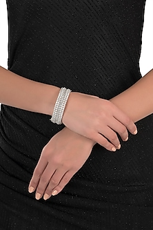 Silver plated faux round diamond baguette bangle