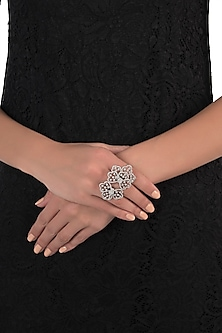 Silver plated oversized faux diamond floral ring