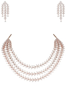 Rose gold plated three line leaf diamond necklace set by Aster
