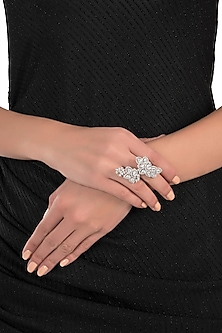 Silver plated two finger floral diamond ring