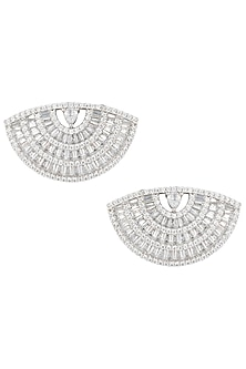 Silver plated baguette diamond stud earrings by Aster