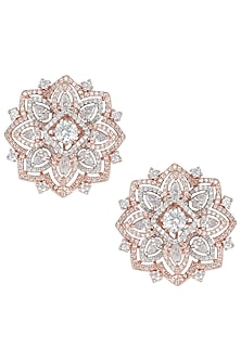 Rose gold plated oversized floral stud earrings by Aster