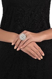White rhodium plated floral diamond ring